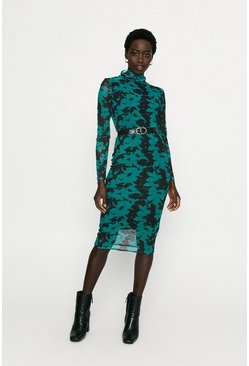Green Printed Mesh Bodycon Dress