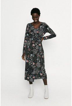 Black Printed Wrap Midi Dress