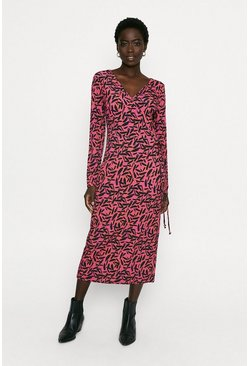 Multi Printed Wrap Midi Dress