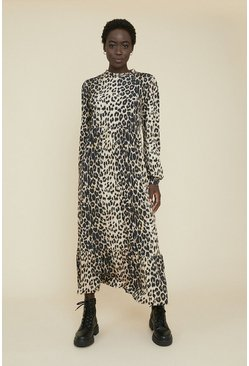 Animal Tiered Printed Midi Dress