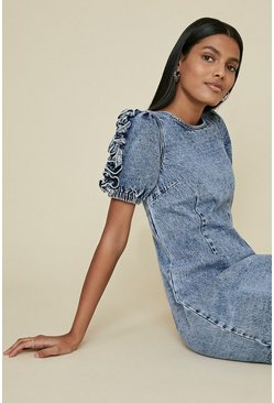 Acid wash light blue Denim Ruffle Sleeve Dress