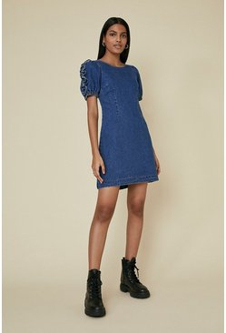 Rinse Denim Ruffle Sleeve Dress