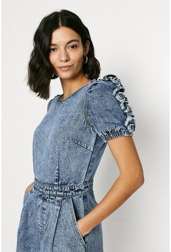 Acid wash light blue Denim Ruffle Sleeve Playsuit