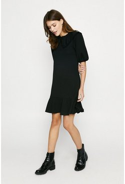Black Ponte Collared Flippy Shift Dress