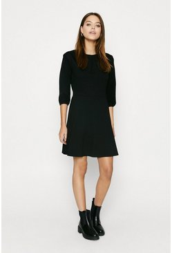 Black Ponte Shoulder Detail Skater Dress