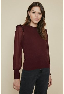 Berry Long Sleeve Chiffon Top