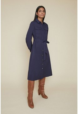 Blue Midi Shirt Dress