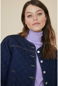 Dark Denim Quilted Jacket