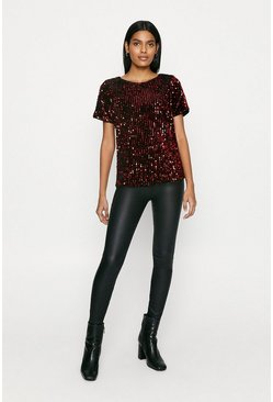 Red Sequin Split Side T-Shirt