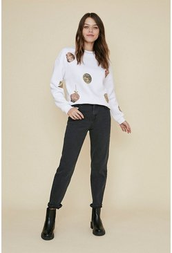 White Bauble Sequin Sweatshirt