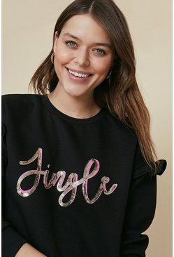 Black Jingle Sequin Sweatshirt