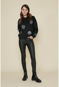Black Sequin Spot Sweatshirt