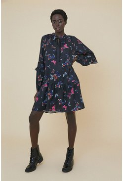 Black Butterfly Tie Neck Smock Dress