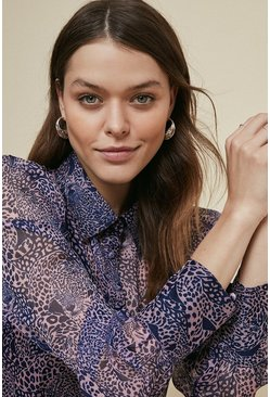 Purple Leopard Chiffon Shirt