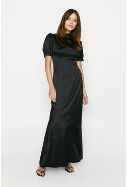 Black Zebra Satin Maxi Dress
