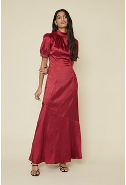 Burgundy Zebra Satin Maxi Dress