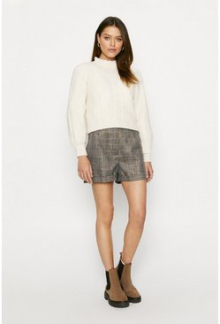 Grey Glitter Check Shorts