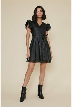 Black Lace and PU Ruffle Sleeve Dress