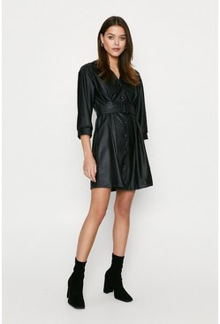 Black Pu Button Through Dress