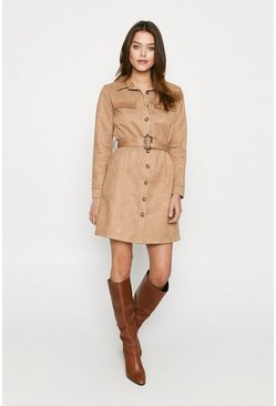 Camel Suedette Button Through Dress