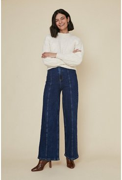 Dark wash Denim Seam Detailed Wide Leg