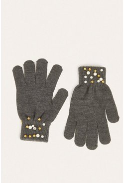 Charcoal Embellished Glove