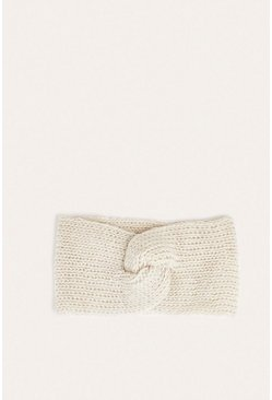 Cream Metallic Twist Headband