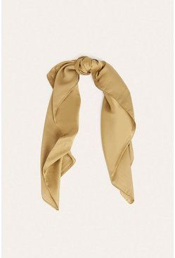 Khaki Satin Square Pocket Scarf