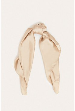 Nude Satin Square Pocket Scarf