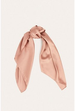 Pink Satin Square Pocket Scarf