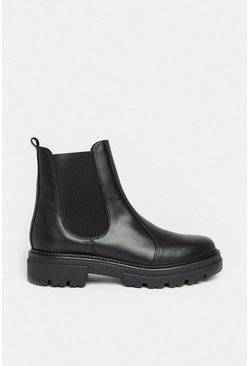 Black Chunky Leather Chelsea Boot