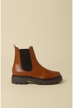 Tan Chunky Leather Chelsea Boot