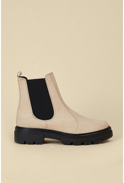 Cream Chunky Suede Chelsea Boot