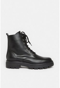 Black Chunky Leather Lace Up Boot