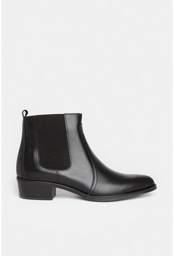 Black Leather Western Ankle Boot