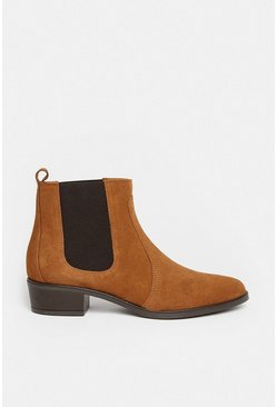 Tan Suede Western Ankle Boot