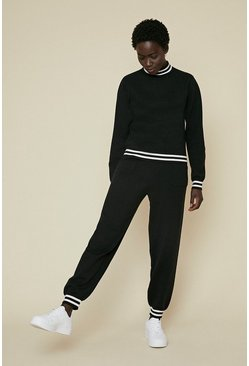 Black Stripe Trim Soft Touch Lounge Cuffed Joggers