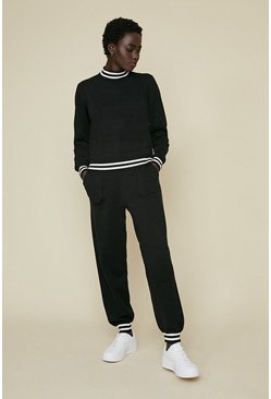 Black Stripe Trim Soft Touch Lounge Crew Neck Jumper