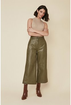 Olive Leather Wide Leg Crop Trouser