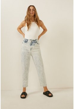Pale wash Paperbag Tapered Jean