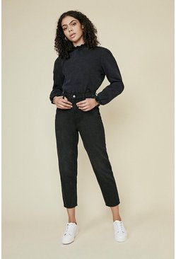 Washed black Shirred Neck Denim Top