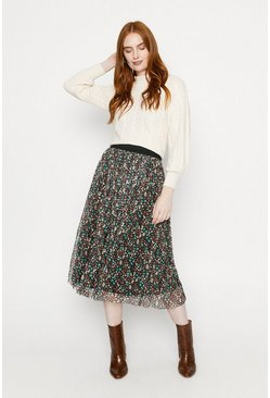 Multi Ditsy Floral Mesh Pleated Skirt