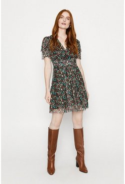 Multi Ditsy Floral Mesh Wrap Dress