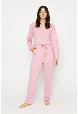 Dusky pink Lace Trim Cuffed Jogger