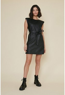 Black PU Padded Shoulder Dress