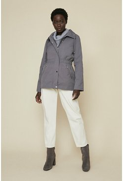 Grey Short Zip Through Parka