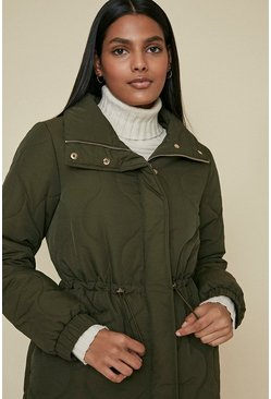 Khaki Diamond Quilted Padded Coat