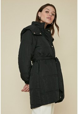 Black Grid Quilted Padded Coat