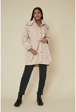 Natural Grid Quilted Padded Coat