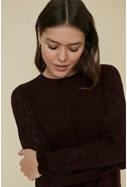 Berry Long Sleeve Knit Lace Jumper